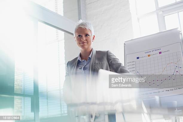 Confident businesswoman standing next to chart in conference room