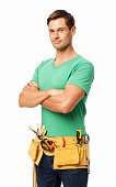 Portrait of confident carpenter standing arms crossed isolated over white background. Vertical shot.