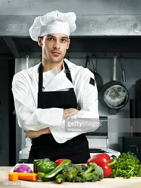 Confident chef in a kitchen