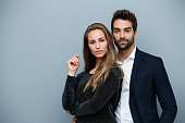 Confident couple in smart clothing, portrait