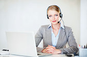 Confident customer care executive