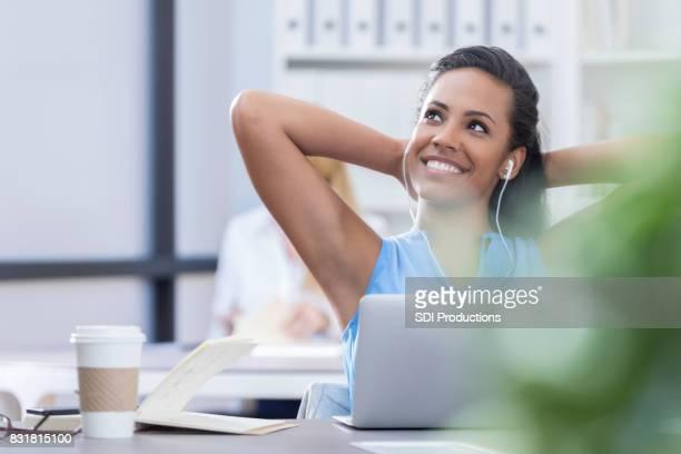 Confident customer service  rep talks with customer