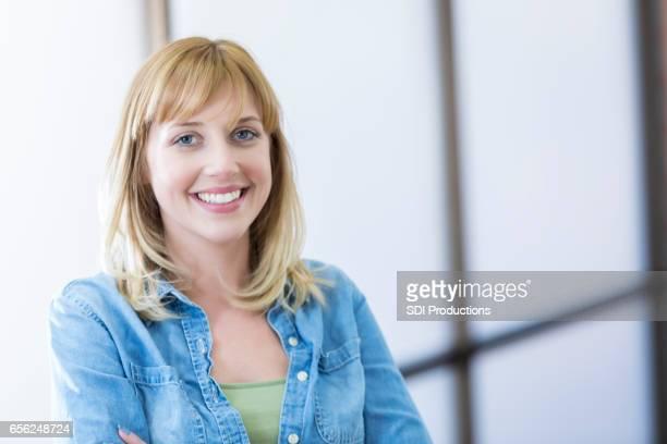 Confident design profession in her studio