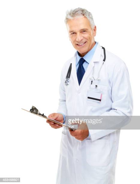 Zuversichtlich Arzt mit Gesundheit Rekord auf Weiß