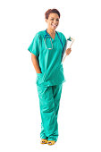 Confident female nurse or doctor wearing scrubs with clipboard