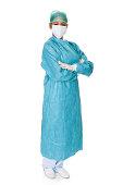 Confident Female Surgeon. Isolated On White Background