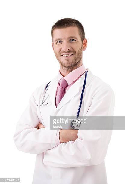 Zuversichtlich männlichen Arzt lächelnd Portrait, Studio