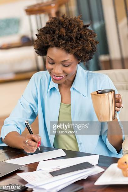 Confident self employed businesswoman works from home office