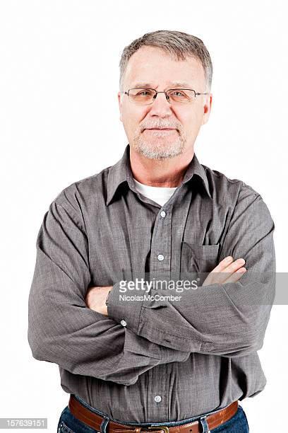 Zuversichtlich Älterer Mann mit Arme verschränkt
