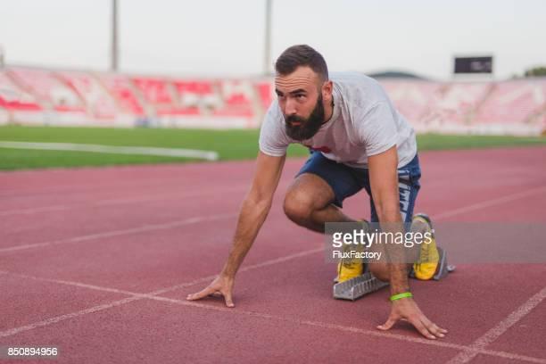 Zuversichtlich Sprinter in Startlöchern