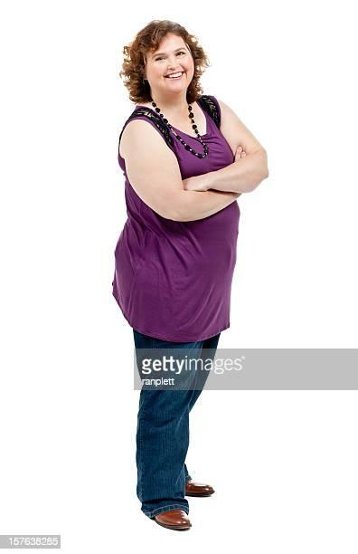 Fiducioso donna con le braccia incrociate-isolato