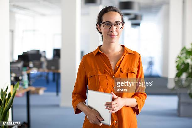 Confident woman with eyeglasses