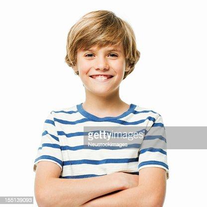 Confiante jovem rapaz-isolada : Foto de stock