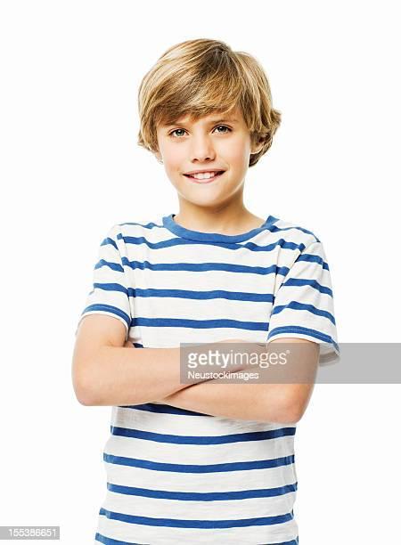 Fiducioso giovane ragazzo isolato