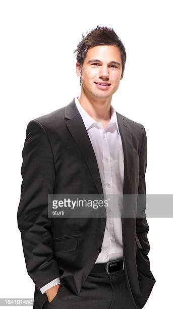 confident young businessman smiling to camera