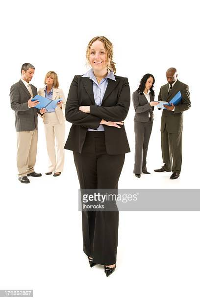 Confident Young Executive and Her Team