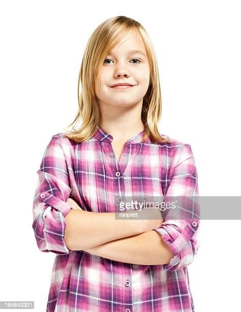 Zuversichtlich Junge Mädchen (Isolated on White)