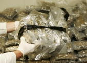Confiscated bags containing marijuana are displayed at the Brussels Federal Police station on April 24 2007 in the Belgian capital Brussels 350 kg of...