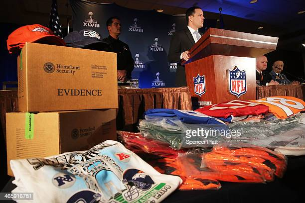 Confiscated counterfeit Super Bowl XLVIII merchandise is viewed at a news conference on the latest seizure of the merchandise leading up to the Super...