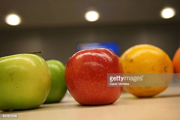 Confiscated fruit is laid out on a table in the secondary agriculture inspection area for US Customs and Border Protection agents and agricultural...