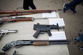 Confiscated guns are displayed prior to the destruction of approximately 3400 guns and other weapons at the Los Angeles County Sheriffs' 22nd annual...