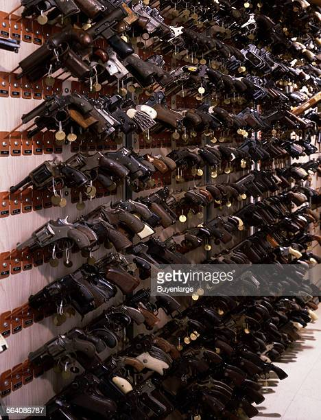Confiscated guns on a display at the FBI Headquarters Washington DC