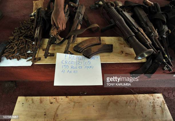 Confiscated weapons and ammunition from suspected Somali pirates awaiting trial on June 24 2010 are used as evidence at the Shimo la Tewa maximum...