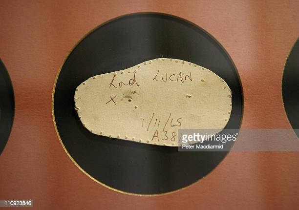 A conform which is a copy of the shape of a persons head here from Lord Lucan is displayed behind glass at Lock Co Hatters on March 22 2011 in London...