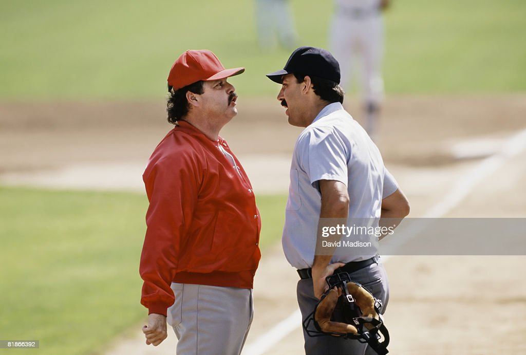 Confrontation between baseball manager and umpire.