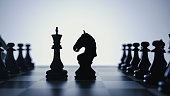 confrontation between the horse and the fattening of chess. 3d rendering and illustration.