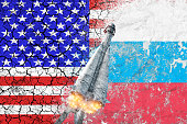 Conflict between the United States of America and Russia. Cold war. Rocket launch. Tensions. Truce.