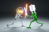 Confrontation cartoon personages bulb light and LED light lamps in style Star Wars. 3d concept