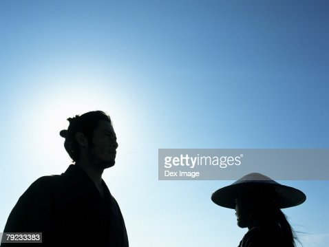 Confrontation of two Samurai warriors : Stock Photo