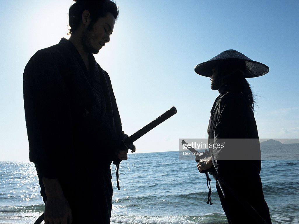Confrontation of two Samurai warriors : Stock Photo