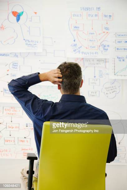 Confused businessman looking at paper drawings