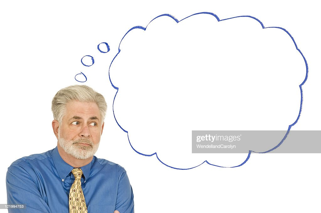 Confused Businessman With Blank Speech Bubble : Stock Photo