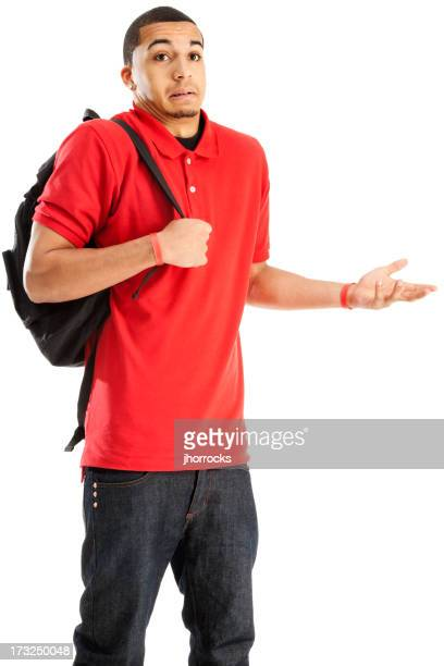 Confused Student with Book Bag