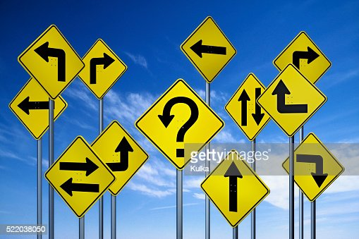 confusing directional signs stock photo getty images