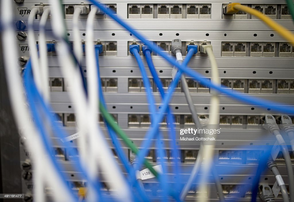 Confusion of different colored ethernet cables at a Server Cabinet in a laboratory of Thales Germany on May 14, 2014 in Berlin, Germany.