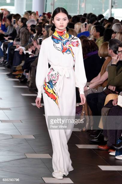 Cong He walks the runway at the Tory Burch FW17 Show during New York Fashion Week at at The Whitney Museum of American Art on February 14 2017 in New...