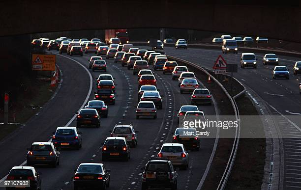 Congested commuter traffic queue as they pass junction 18 on the M4 motorway at rush hour on February 25 2010 near Bristol England As the UK gears up...