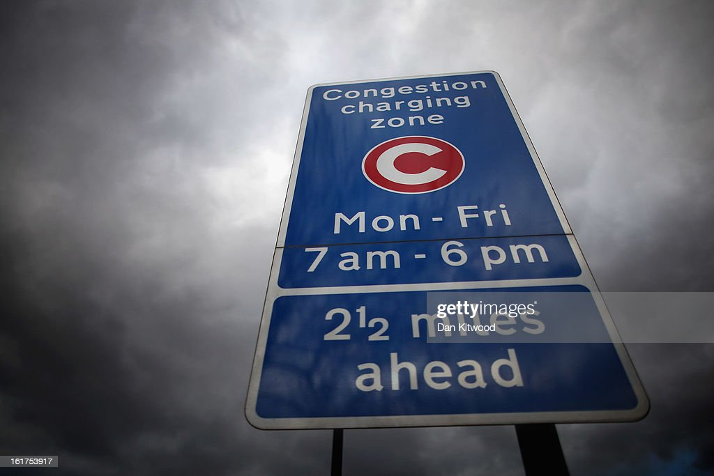 A congestion charge sign stands in Clapham on February 15, 2013 in London, England. The weekday charge was introduced by the then Mayor of London Ken Livingstone on February 17, 2003 and celebrates its tenth anniversary on Sunday. Originally costing 5 GBP it has risen over the years to its current price of 10 GBP.