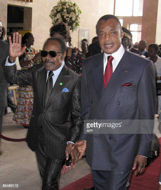 Congo Brazzaville President David Sassou Nguesso and his Gagonese counterpart arrive to attend a session of the 6th Sustainable Development World...