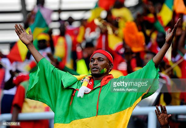 Congo fans are seen prior to the 2015 African Cup of Nations quarter final football match between Congo and Republic of the Congo in Bata on January...