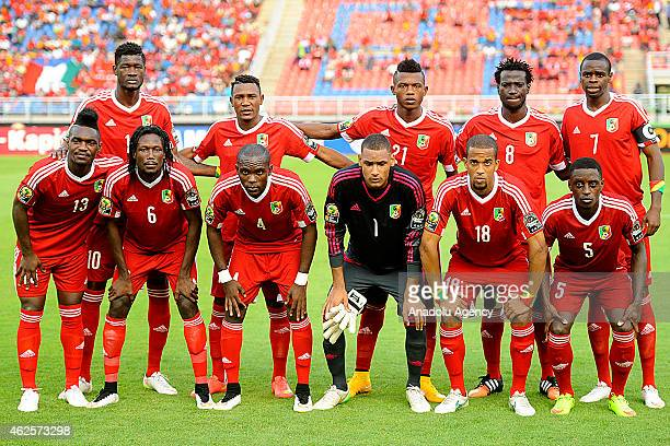 Congo football players are seen prior to the 2015 African Cup of Nations quarter final football match between Congo and Republic of the Congo in Bata...