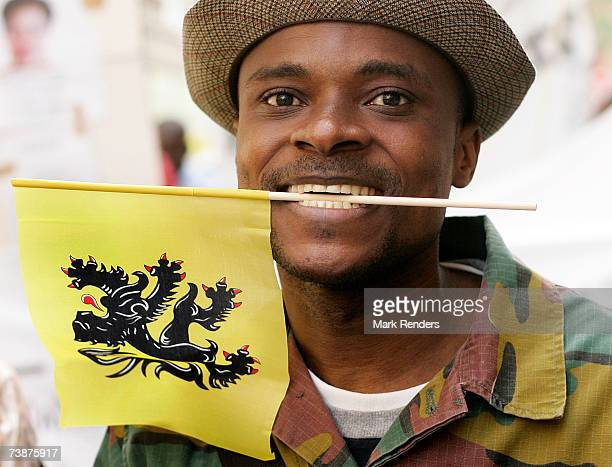 Congolese demontraters carrying the Flemish flag protest against the Congolese President Kabila and the WalloonBelgian government on April 13 2007 in...