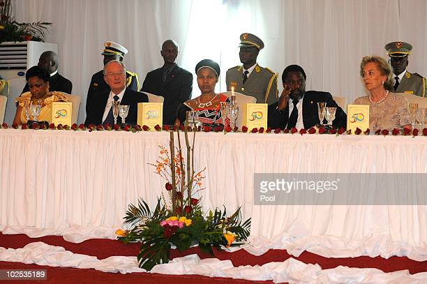 Congolese First Lady Olive Kabila King Albert II of Belgium wife of King Mswati III of Swaziland Congolese President Joseph Kabila and Queen Paola of...