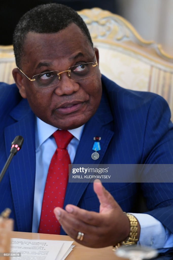 Congolese Foreign Minister Jean-Claude Gakosso gestures as he speaks during a meeting with his Russian counterpart in Moscow on March 14, 2017. / AFP PHOTO / Kirill KUDRYAVTSEV