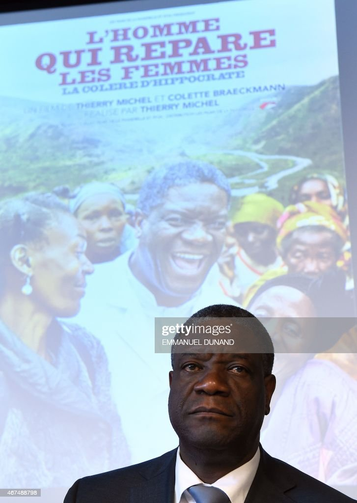 Congolese gynaecologist <a gi-track='captionPersonalityLinkClicked' href=/galleries/search?phrase=Denis+Mukwege&family=editorial&specificpeople=5127888 ng-click='$event.stopPropagation()'>Denis Mukwege</a>, laureate of the 2014 Sakharov Prize, addresses a press conference to present the documentary 'The Man Who Mends Women - the Wrath of Hippocrates', in Brussels, March 25, 2015. The documentary, from co-authors Thierry Michel and Colette Braeckman, follows Mukwege's efforts to repair the physical and psychological injuries of rape victims, and denounces the routine use of sexual violence by armed forces and militia groups in eastern Democratic Republic of Congo against women. AFP PHOTO/Emmanuel Dunand