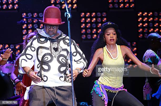 Congolese music star Papa Wemba performs onstage during the Femua music festival in Abidjan on April 24 2016 before collapsing on stage The...